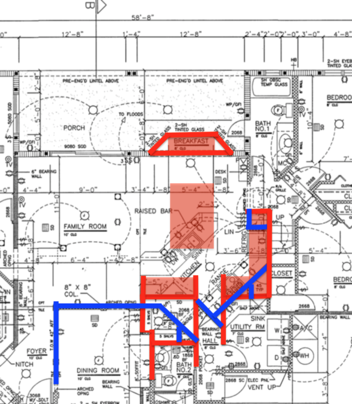 Preliminary idea showing the walls to take out in blue and the stuff that stays/gets built in red