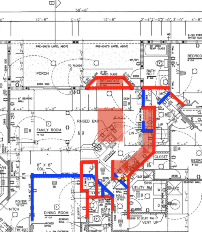 Demo walls in blue, stuff that stays/gets built in red, support columns that cannot be moved in yellow.