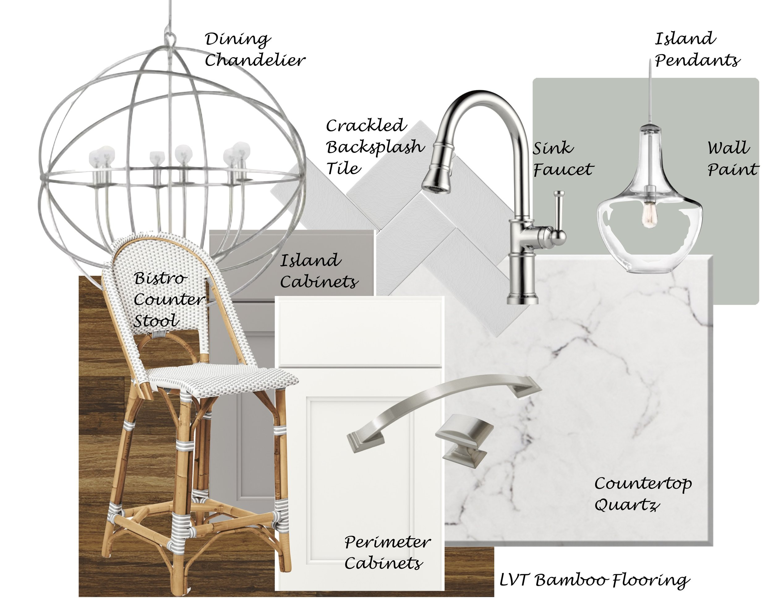 Serena and Lily bistro counter stoo l |  Crystorama chandelier  |  Kichler Pendant  |  Amerock Handle  and  Knob  |  Brizo faucet