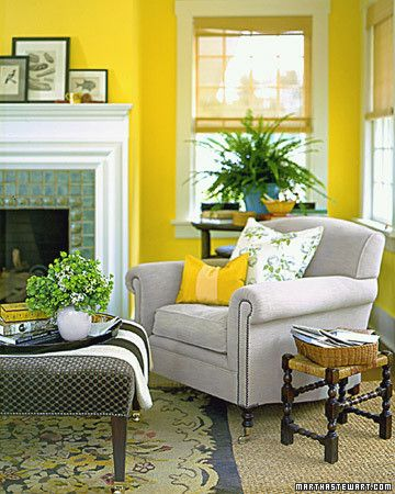 Walls in Martha Stewart Living paint color Egg Yolk via     Martha Stewart.
