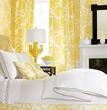 Sunny   Thibaut     wallpaper with matching fabric in an all yellow and white room. Note the black accents.