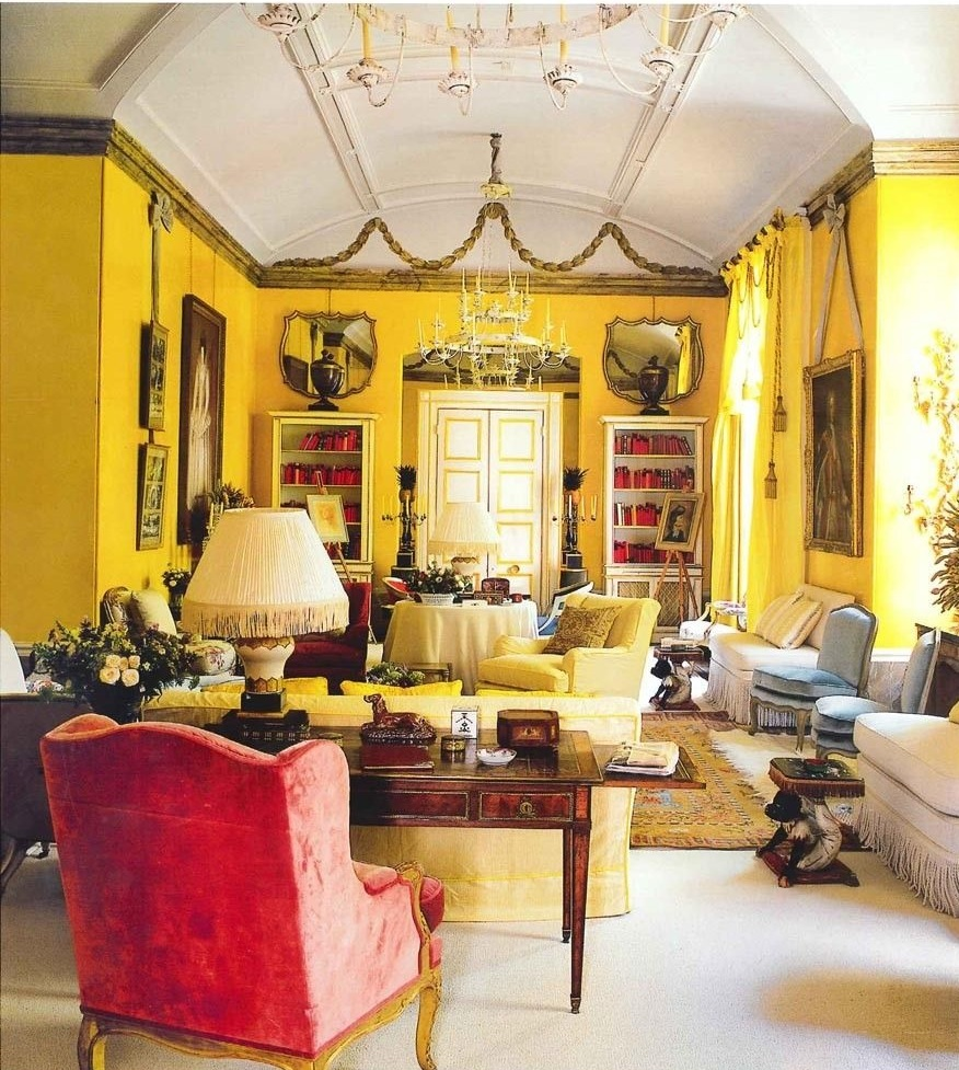 "Nancy Lancaster's iconic ""yellow room"" at Colefax and Fowler as seen in The World of Interiors magazine"