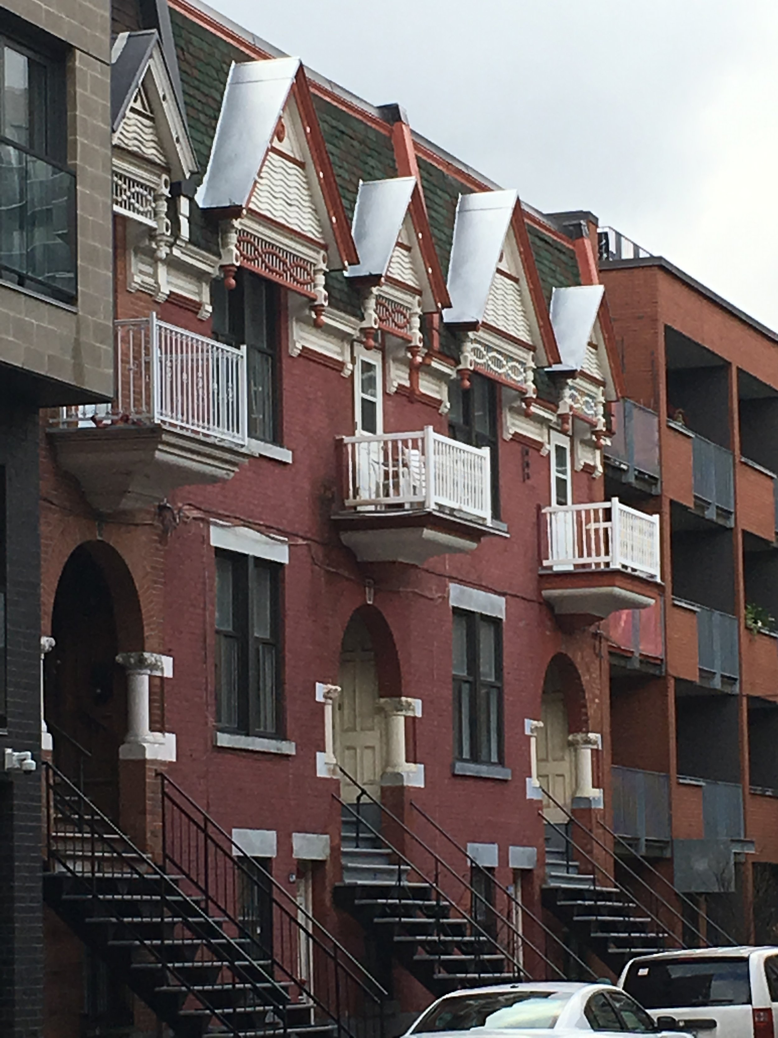 Fanciful row houses near our Airbnb in Montreal
