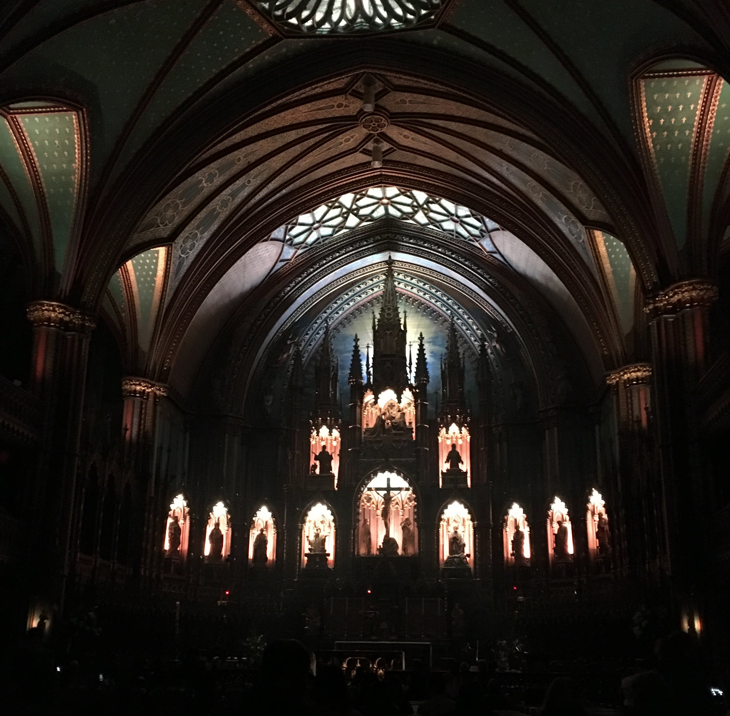 Waiting for the Aura laser light extravaganza to begin at Notre-Dame Basilica, Montreal