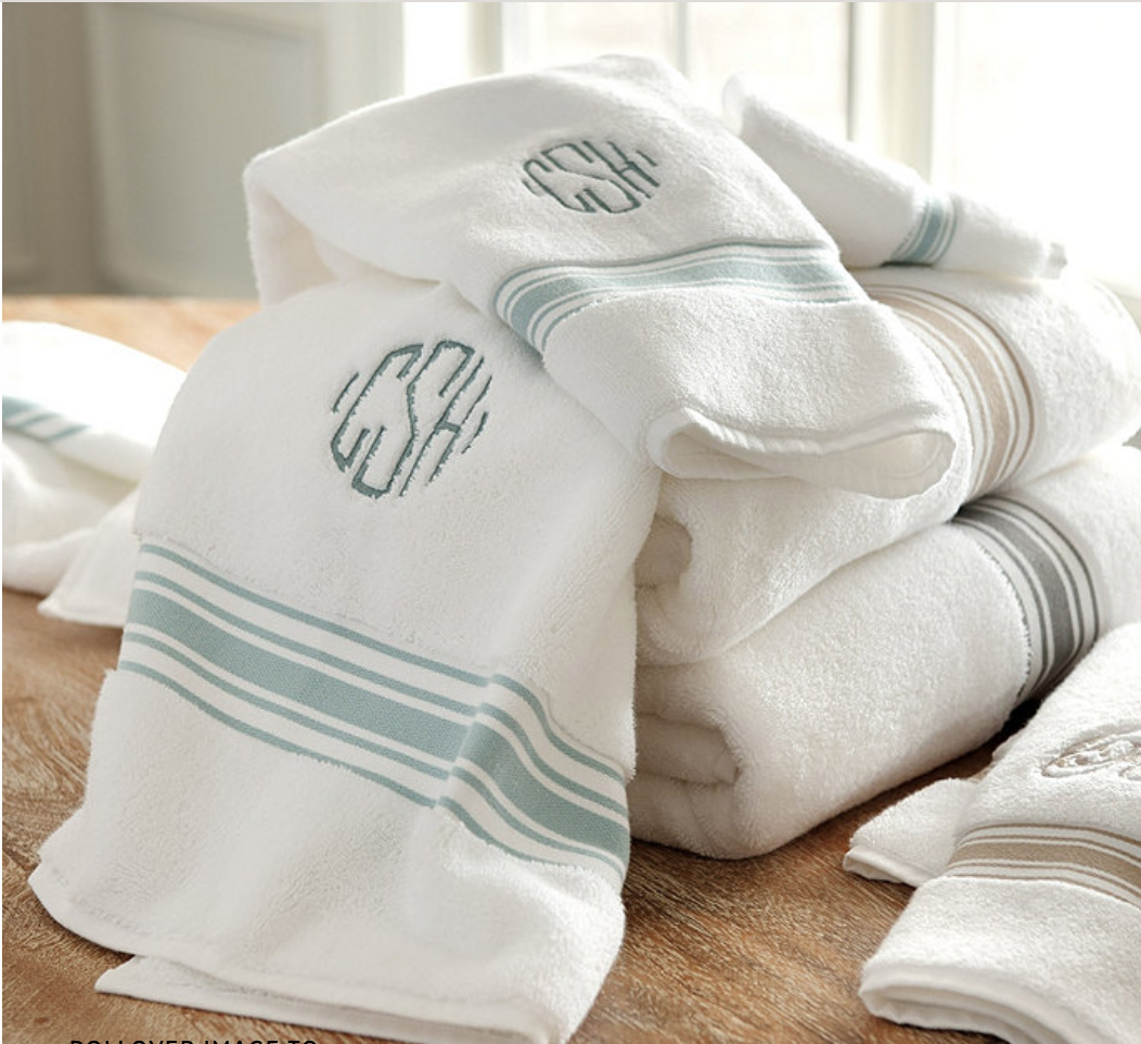 Monogrammed towels   with a touch of color