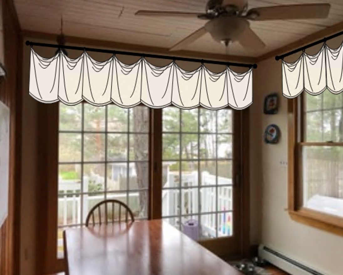 cottage kitchen windows AFTER with valances that obscure the height difference