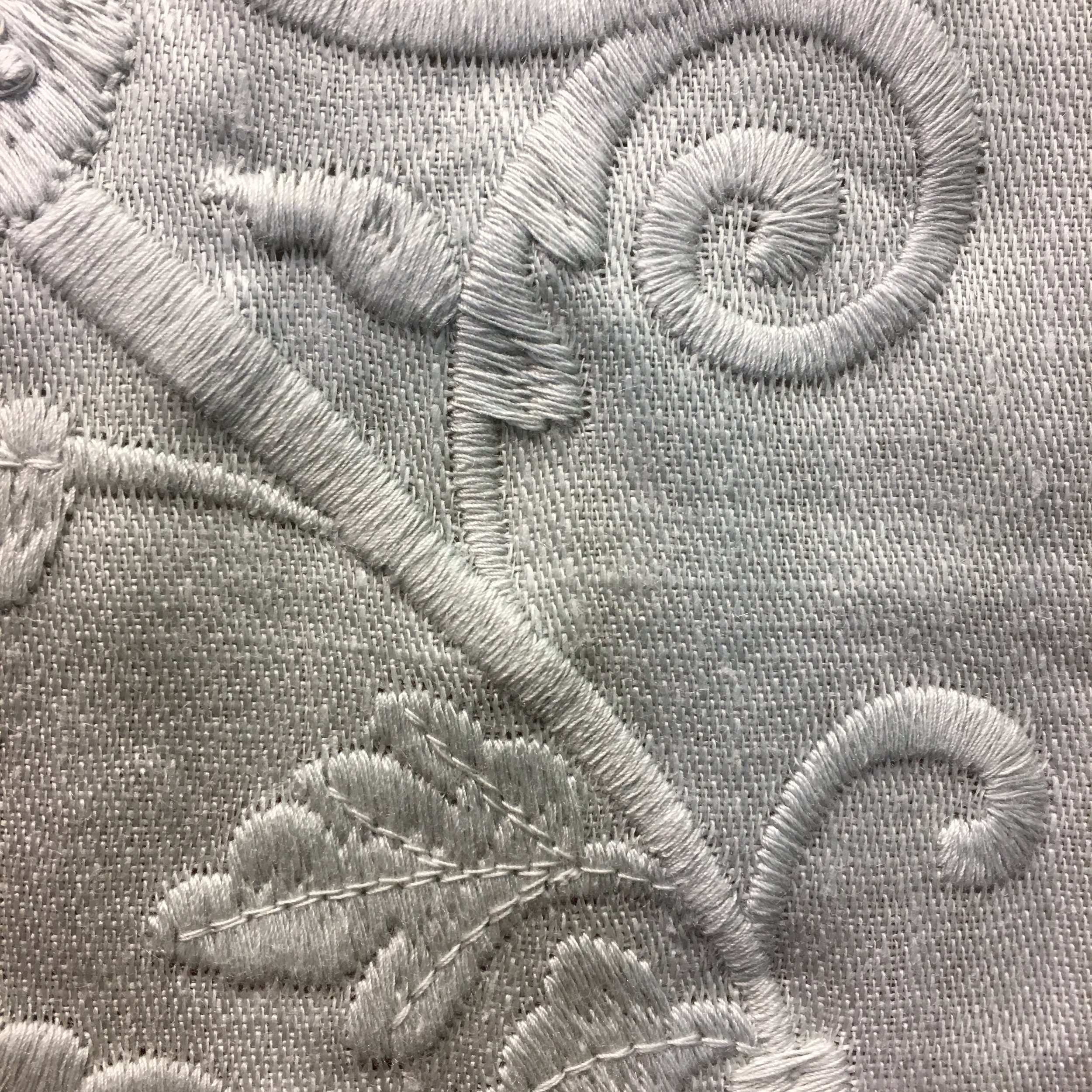 Tone-on-tone embroidered linen in white is a statement of refined elegance