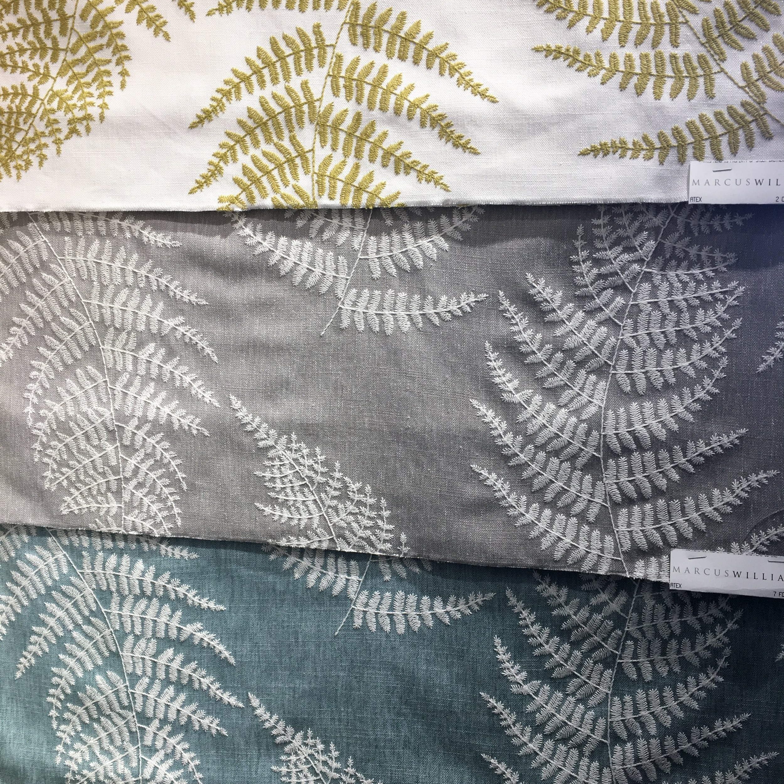Ferns embroidered on linen. Wouldn't this make the most glorious garden room draperies?