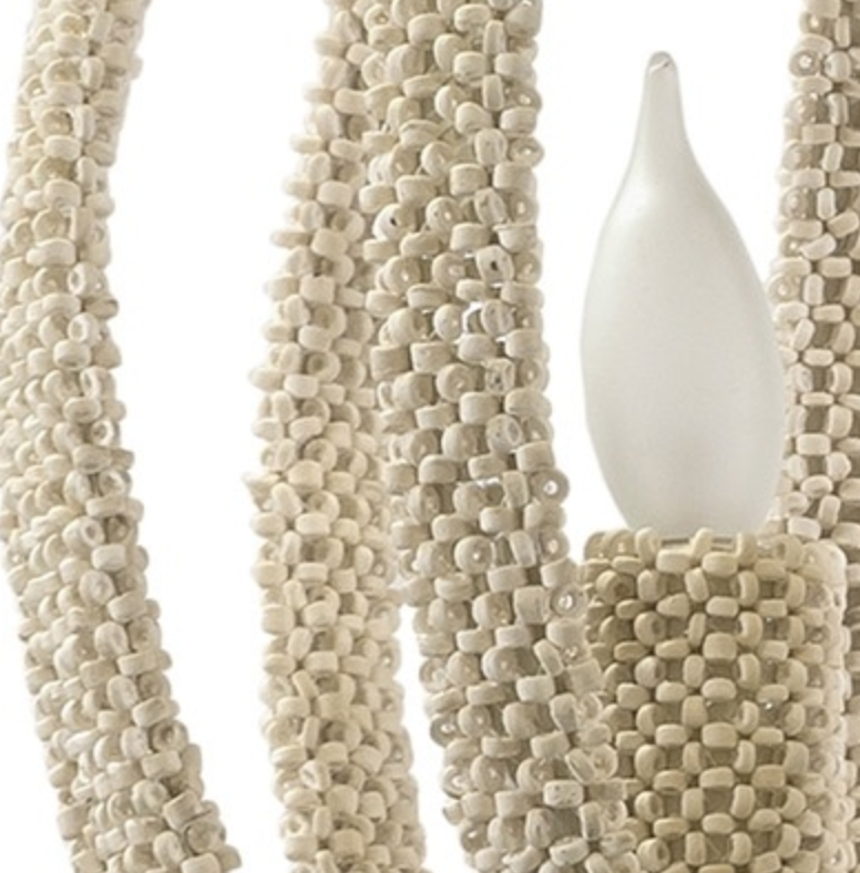 Close-up of the textured coco bead chandelier. I can't imagine keeping this clean, though!