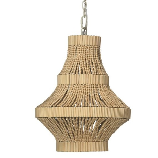 Tiny wooden beads make up this pendant shade