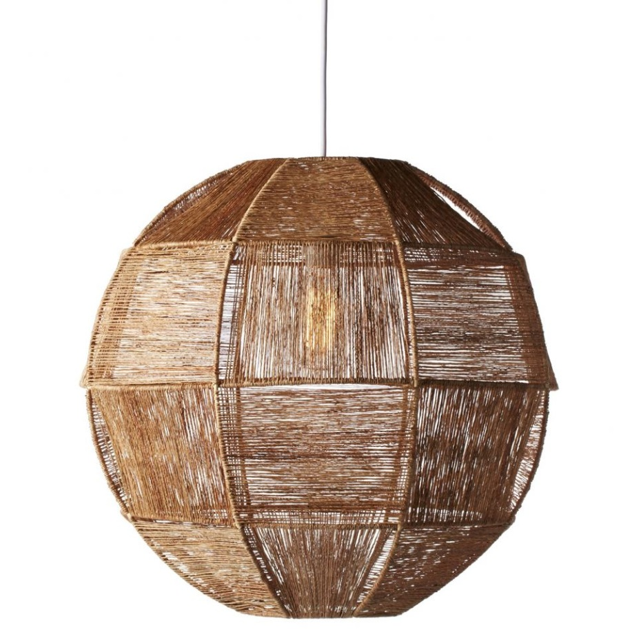 Natural juste fabric encases the light bulb of this pendant in a spherical cocoon