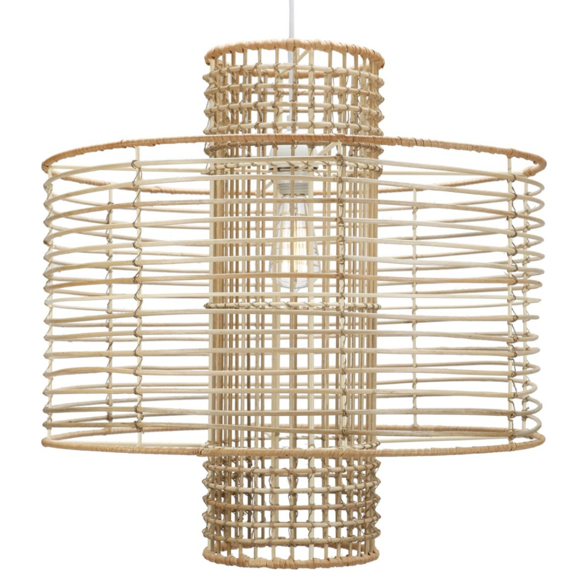 Rattan wrapped wire frame makes a sculptural statement