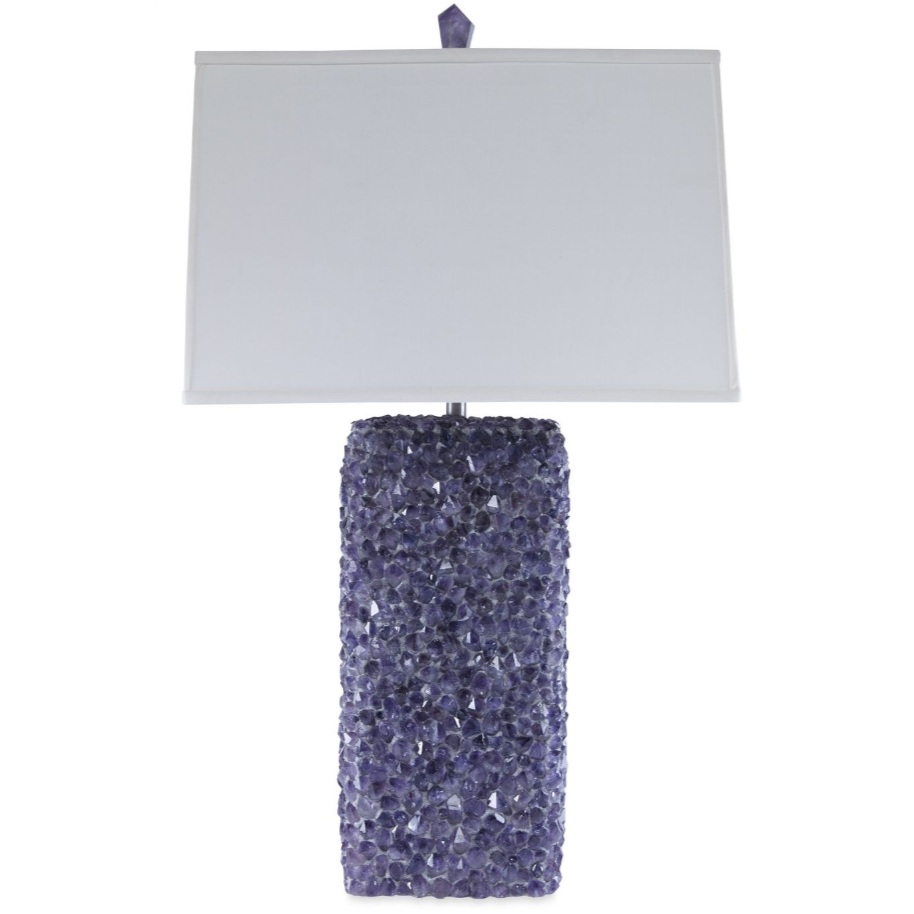 Embedded quartz crystals make up the base of this lamp