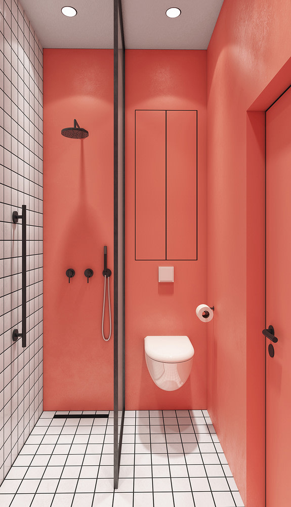 Coral walls pair with a white grid of tile in this bathroom via  Domino , Visualizer  Artem Tafy