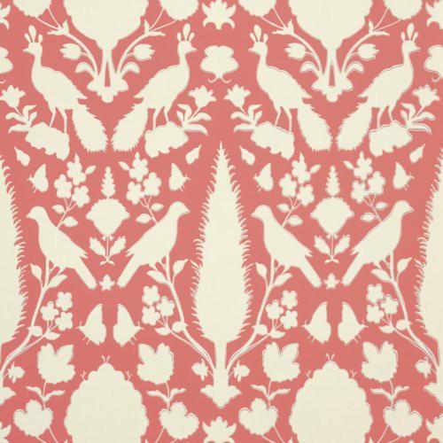 Schumacher Chenonceau Coral Wallpaper