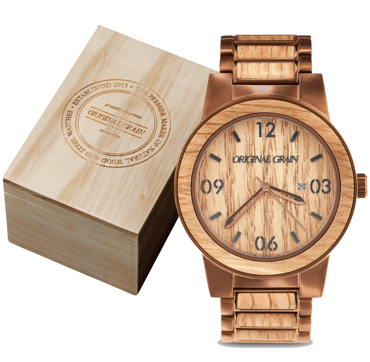 47mm Watch from Original Grain $279   , crafted from Reclaimed American Oak Bourbon Barrels and Brushed Espresso Stainless Steel, Mineral Crystal, Water Resistant Casing, Japanese Miyota Citizen Quartz movement, all nestled in a wooden box