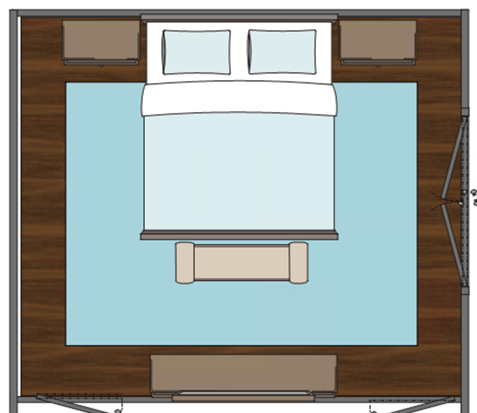This illustration shows a king size bed with a 9' x12' rug