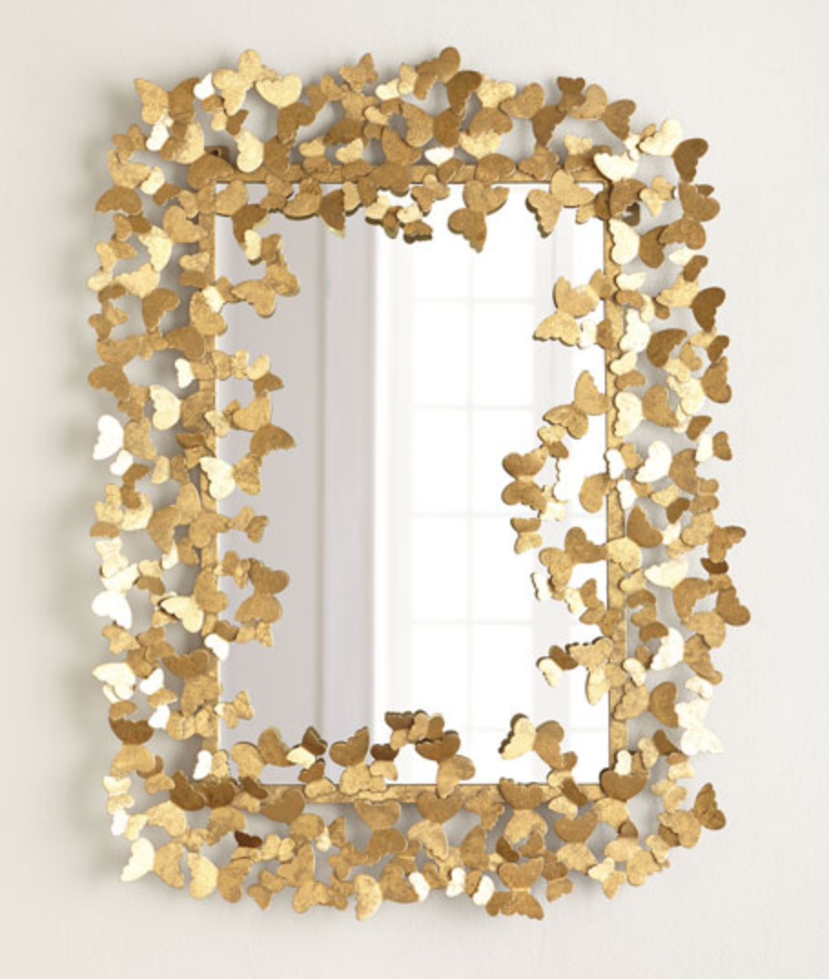 "Gold     Butterfly Mirror   36"" x 48"" (available in a 36"" round version also)"