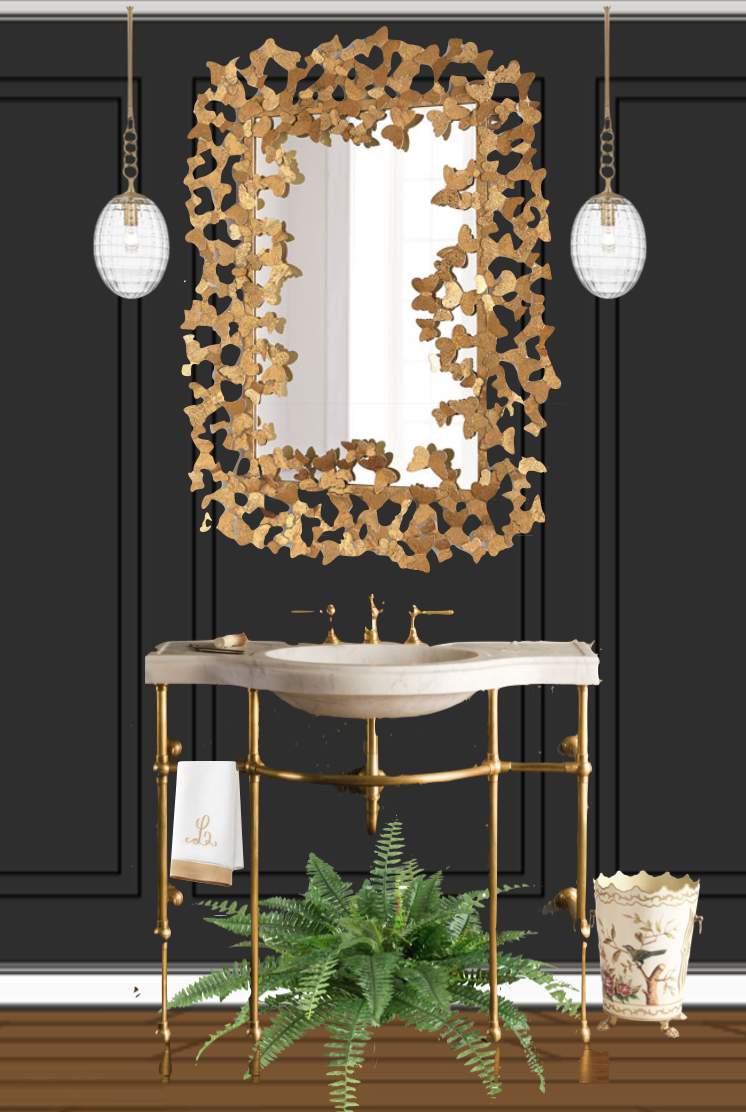 Powder room mood board with statement mirror