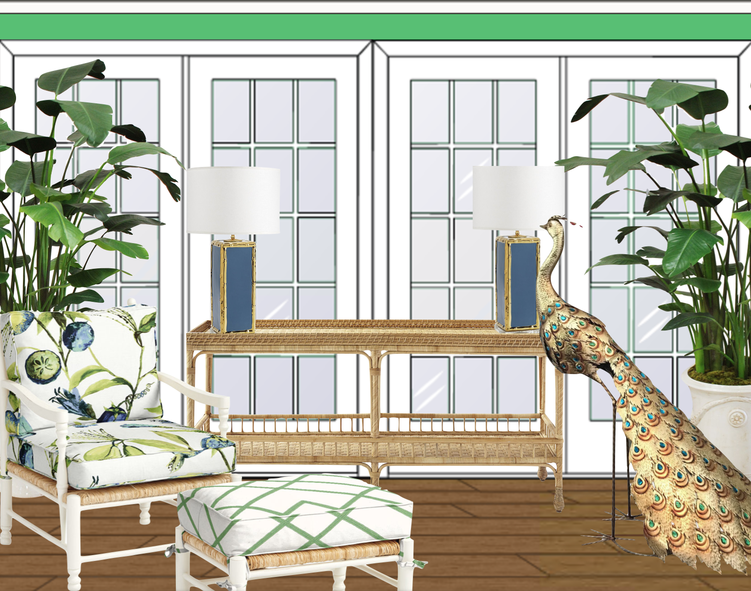 Conservatory with statement peacock