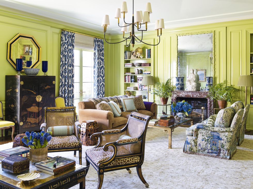 Colorful paneled library in the home of Designer   Meg Braff   via   Veranda  , Photo:   Annie Schlechter