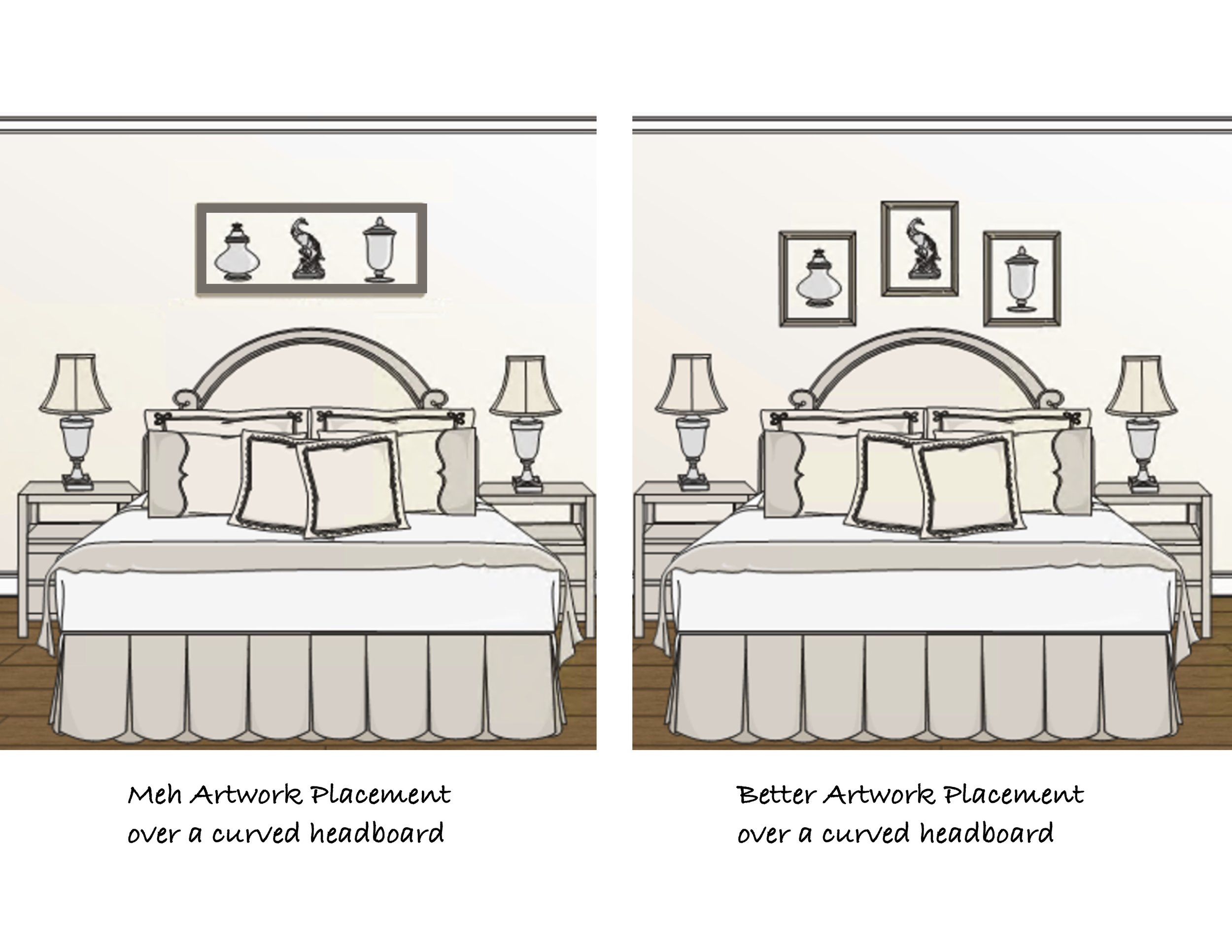 Artwork do's and don'ts over a curved headboard