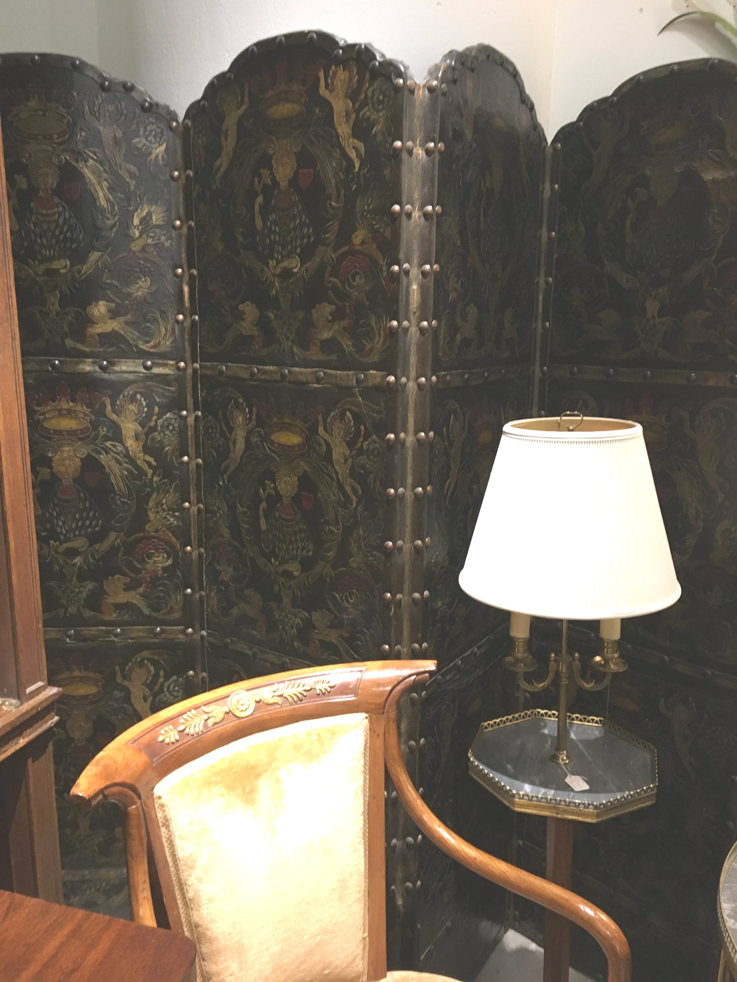 Antique tooled leather folding screen