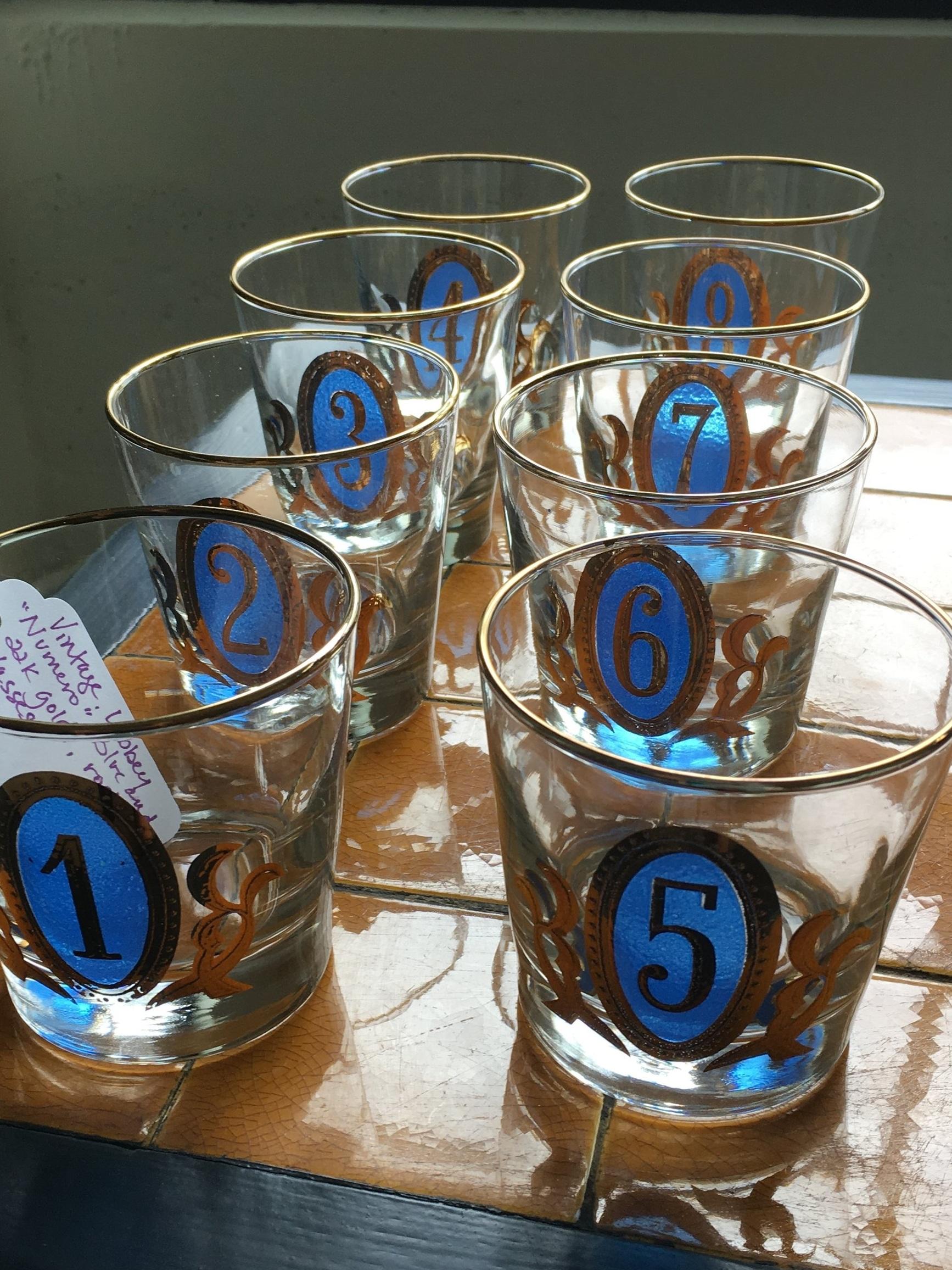 Numbered barware glasses