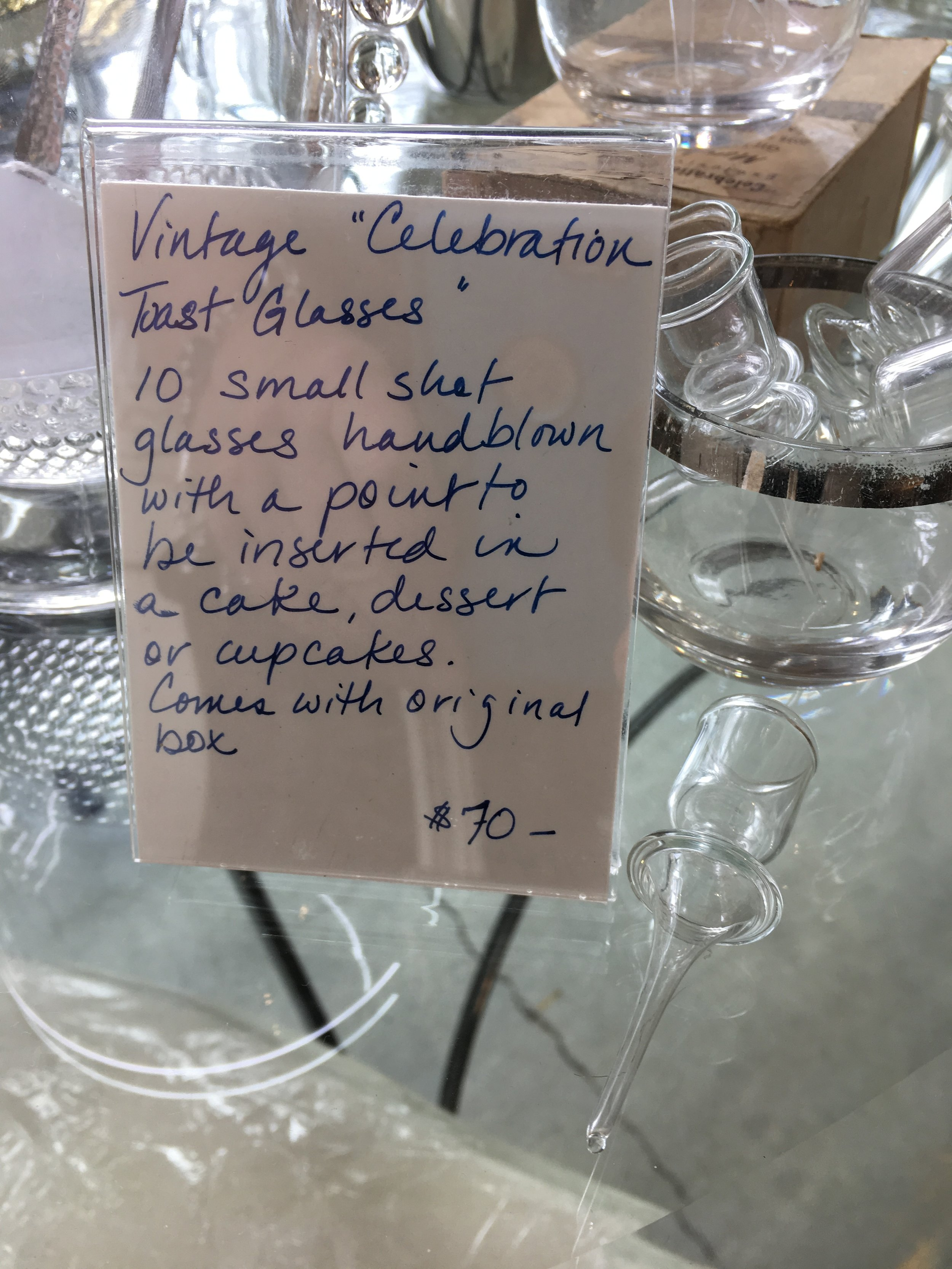 """How fun are these vintage 'celebration"""" shot glasses? A little small at about 3/4"""" diameter…but still fun!"""