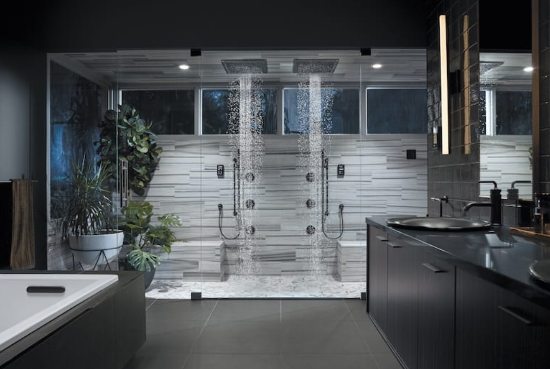 Gigantic shower with Kohler fixtures Image via   Palm Springs Life