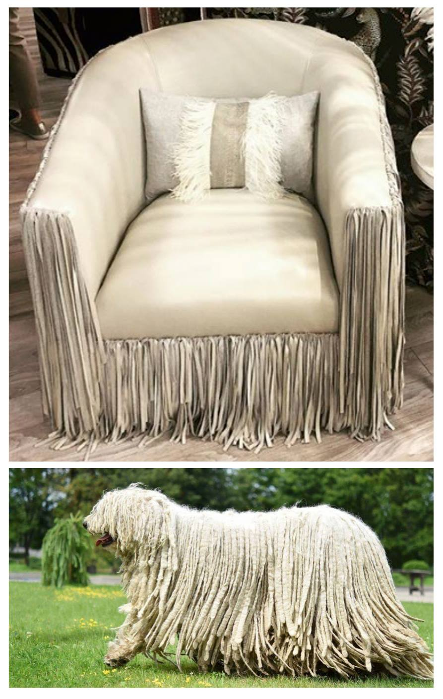 A swivel chair at the NY Now market trade show (2018) and a Komondor breed dog...twins separated at birth?