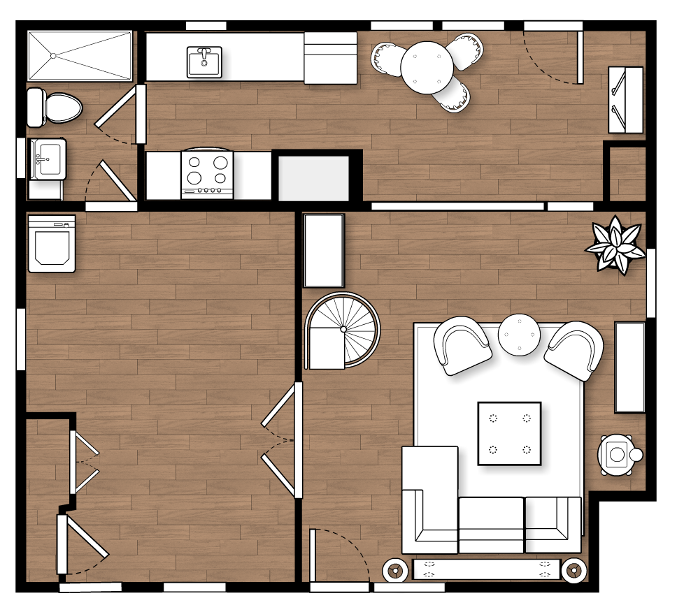 Existing First Floor (with the recently furnished LR) The bedroom is the room on the lower left. Future plans will reorganize the dining area and open up the back wall with full glass doors to capitalize on the view and increase access to the deck, as well as building more efficient storage into the end wall.