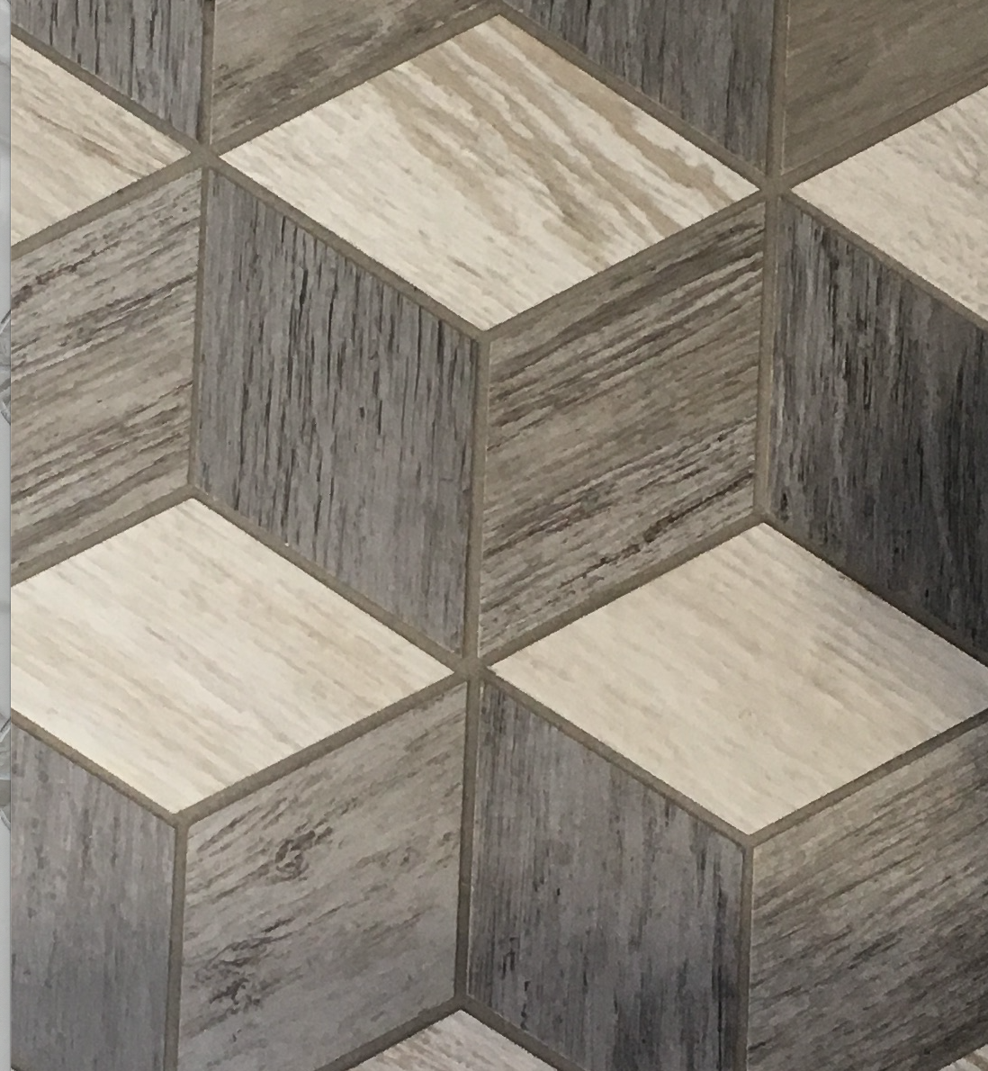 Wood look patterned tile