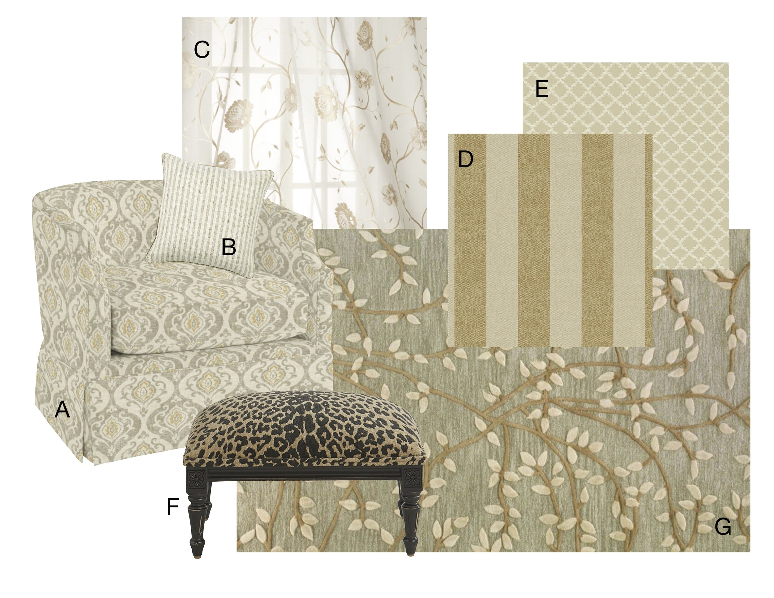 A Swivel glider chair    |    B Striped pillow    |    C Embroidered curtain panel    |    D Gold striped Sunbrella fabric    |    E jacquard weave Sunbrella trellis fabric    |    F Leopard print stool    |    Vine wool area rug