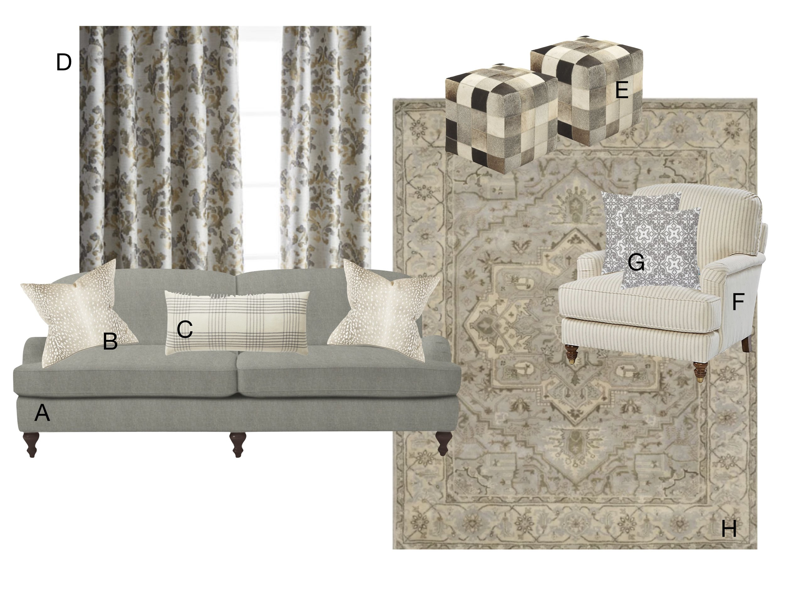 A Custom English arm sofa    |    B Antelope pattern pillow    |    C Windowpane check pillow    |    D Gray floral drapery panels    |    E Leather hide ottomans    |    F Striped club chair    |    G Embroidered pillows    |    H Grey/beige wool area rug