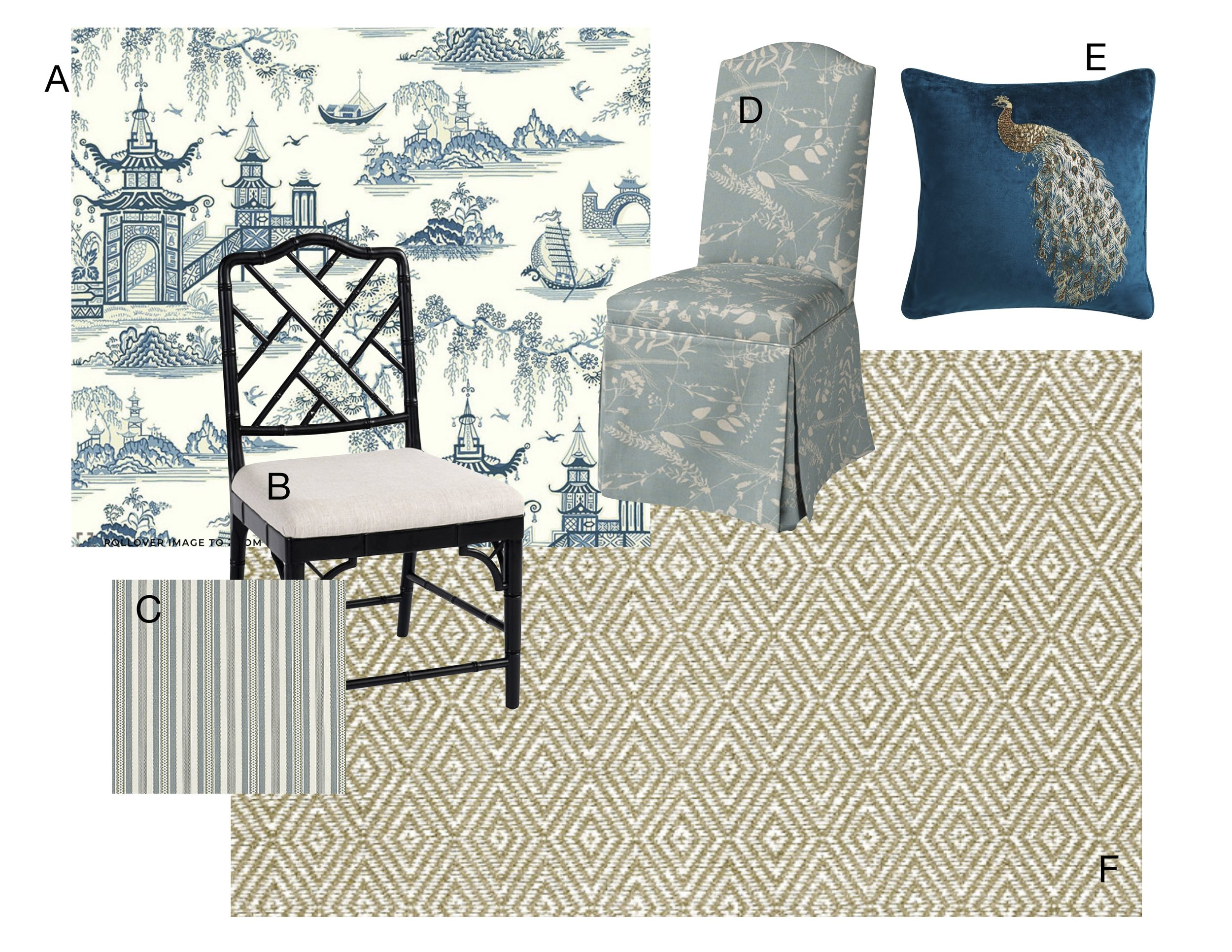 A Toile wallpaper    |    B Bamboo side chair    |    C Striped fabric    |    D Upholstered parsons chair    |    E Beaded peacock pillow    |    F Sisal area rug