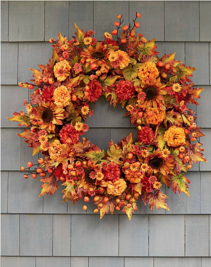 "Sunburst mums wreath 32"""