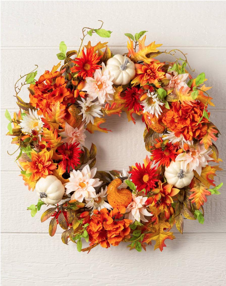 """White pumpkin wreath 30"""""""