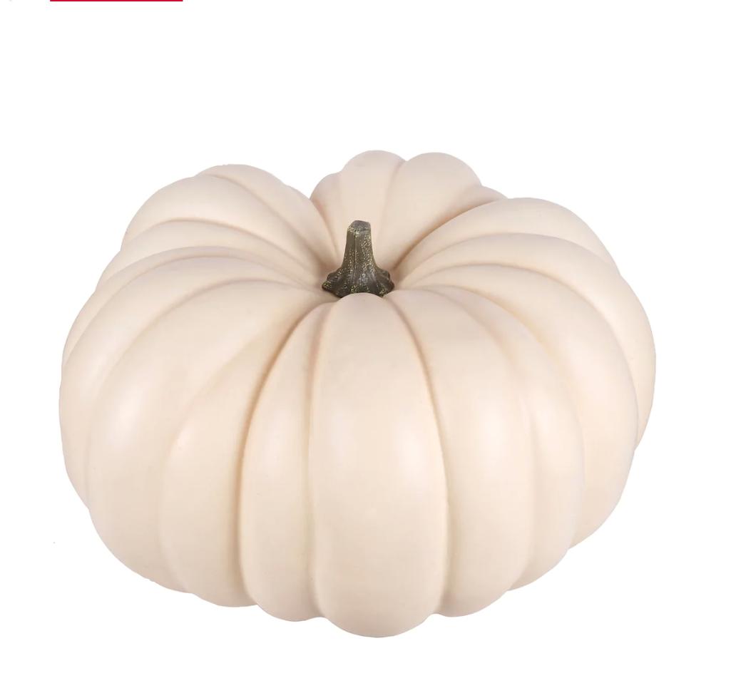 """12"""" white faux pumpkin"""