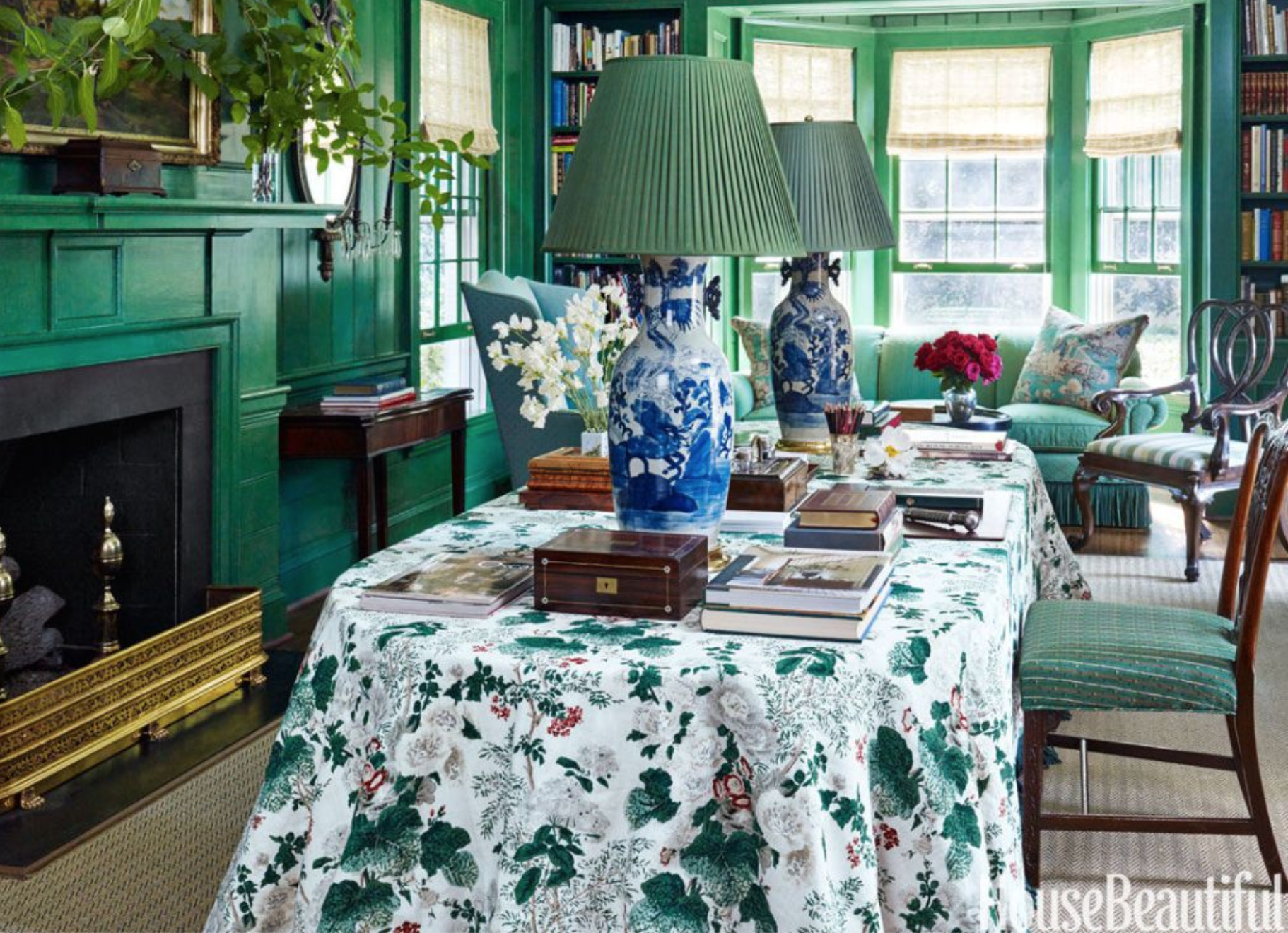 Classic table lamps on a skirted table-turned-desk in this office the iconic     Miles Redd     did for his mother. Photo:   Peter Murdock   ,  Image via   House Beautiful