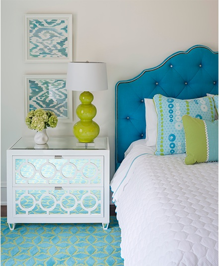 The versatile and brilliant decorator,   Phoebe Howard   ,  used these lamps for a punch of accent color in this chic bedroom.