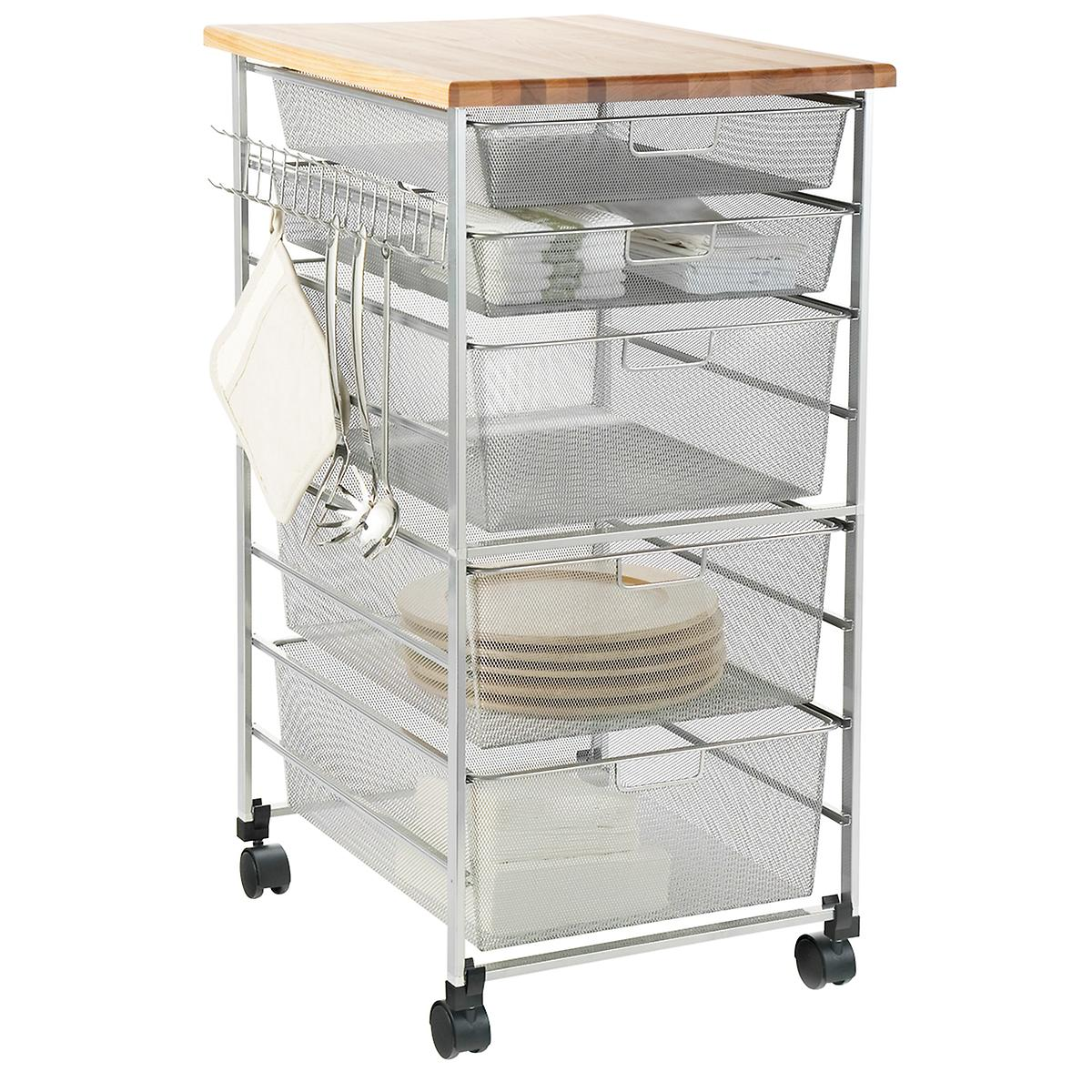 Elfa 5 drawer kitchen cart   with mesh drawers, butcher block top, and casters
