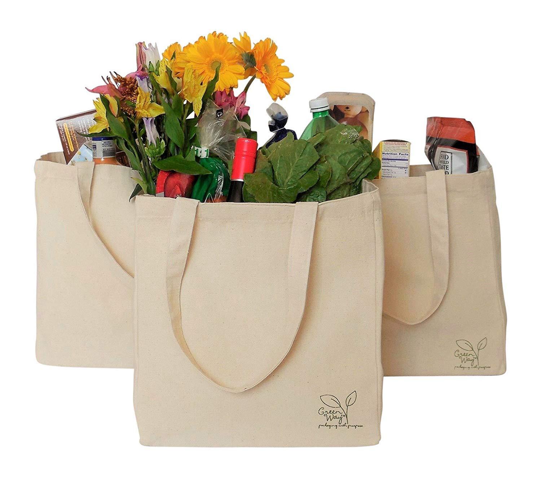 reusable canvas shopping bags