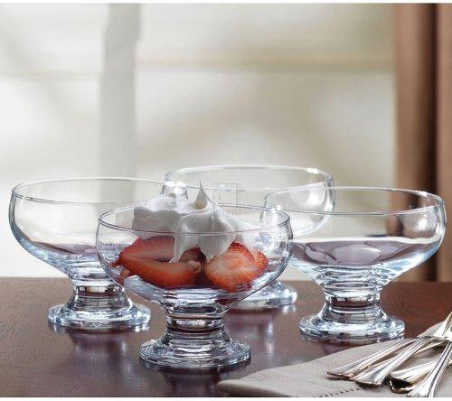 Set/4 footed glass dessert bowls