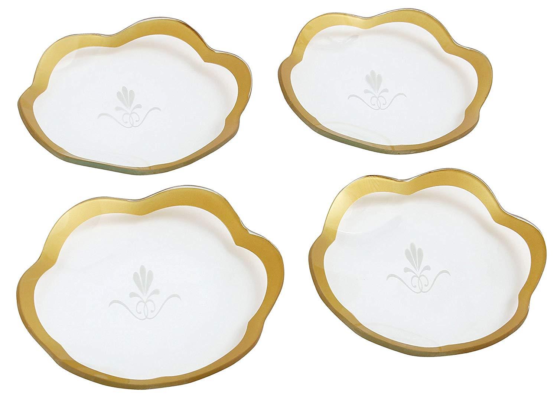 Set/4 scalloped tempered glass dessert plates