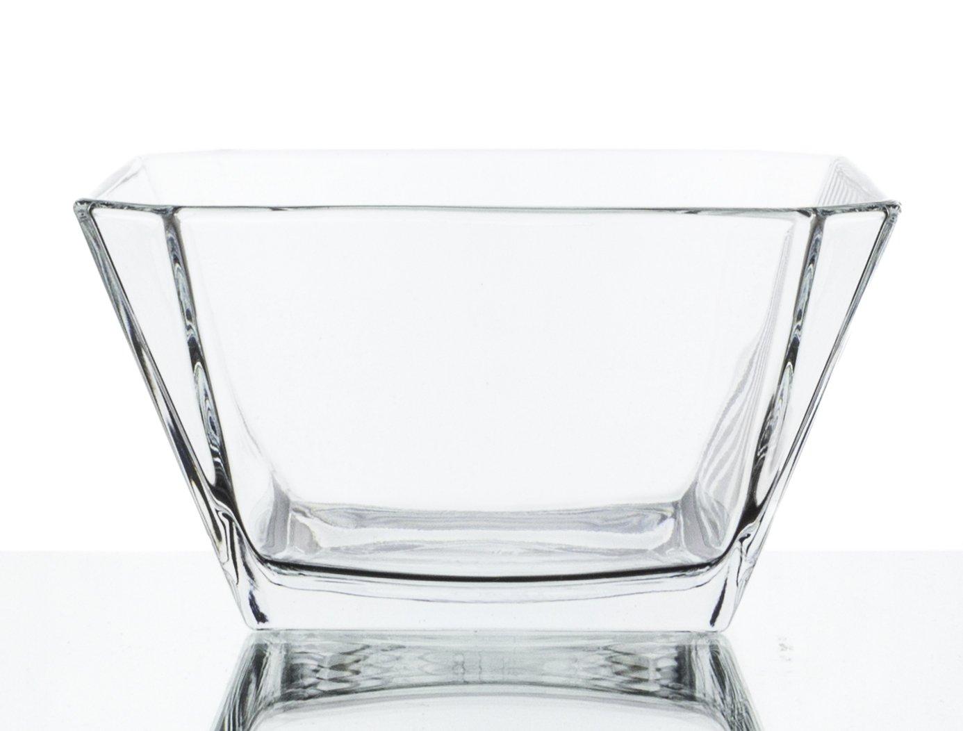 square glass dessert bowls, set/6