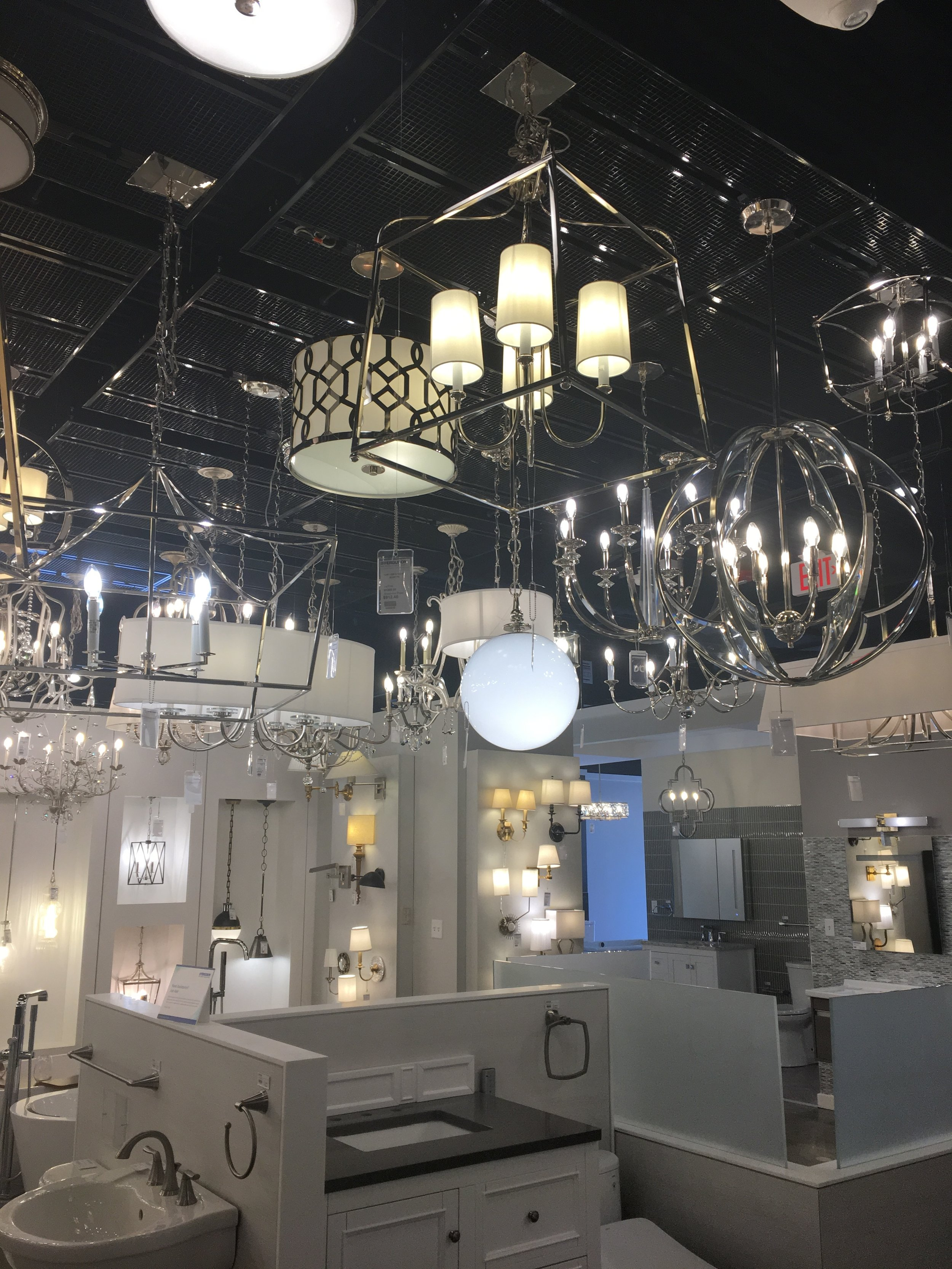 Lighting at Ferguson's Plumbing showroom, Burlington, MA