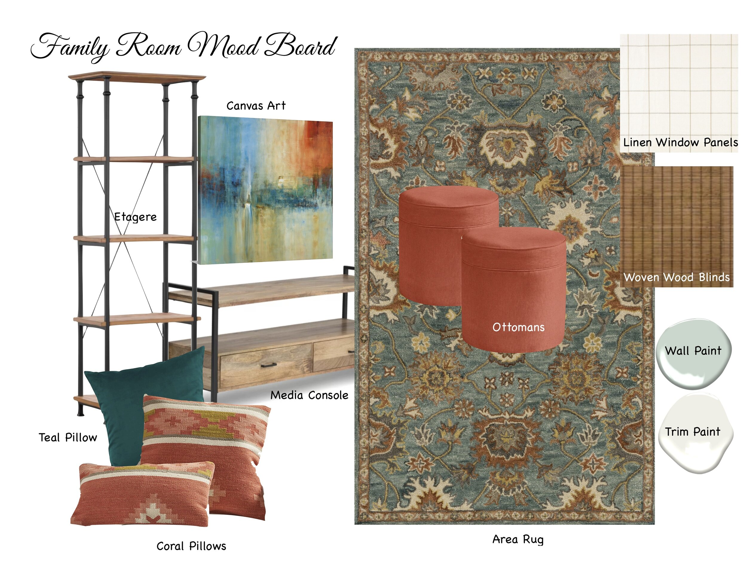 Etagere   |   Media Console   |   Teal Pillow   |   Linen Drapery Panels   |   Woven Wood Blinds