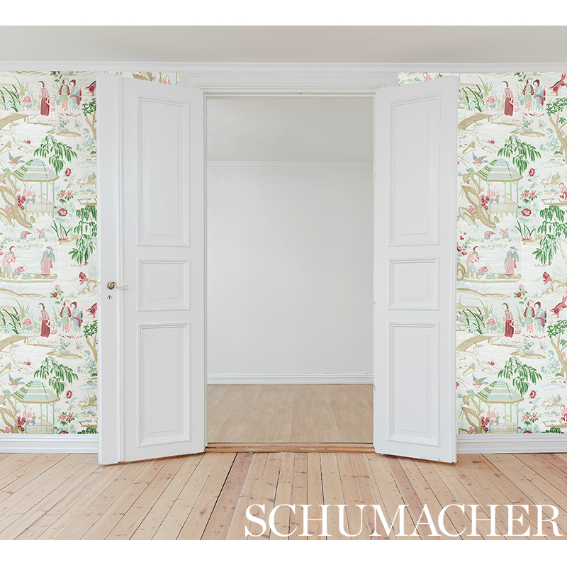 Schumacher chinoiserie in pastel shades of blue, green, sand and pink