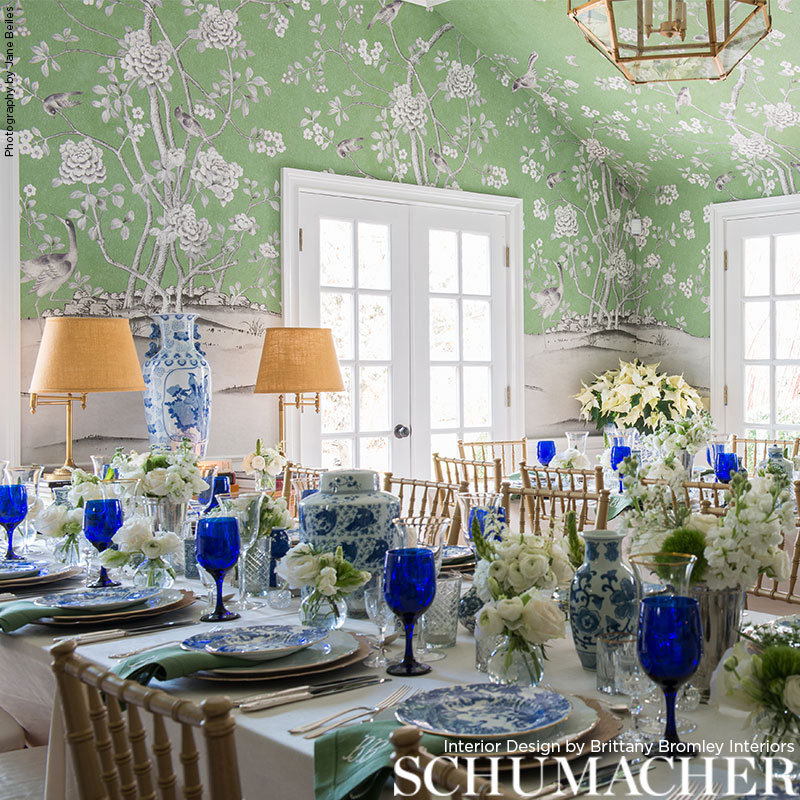 Schumacher chinoiserie wallcovering panels in a dining room by   Brittany Bromley,   photo by   Jane Beiles